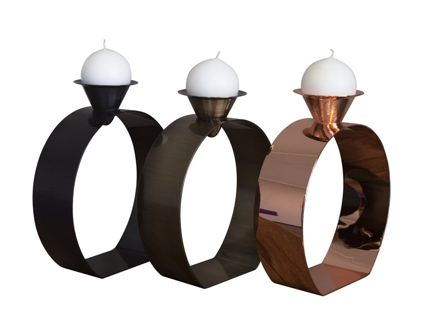 Copper candle holder BIG DIAMOND by ZANETTO