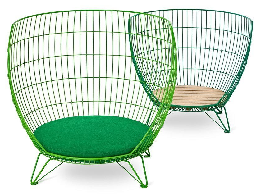 High-back stainless steel armchair BIG & SMALL BASKET by Nola Industrier