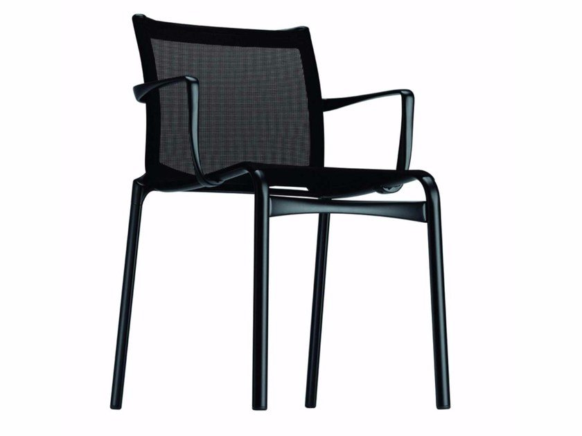 Stackable mesh chair with armrests BIGFRAME LOW - 413 by Alias