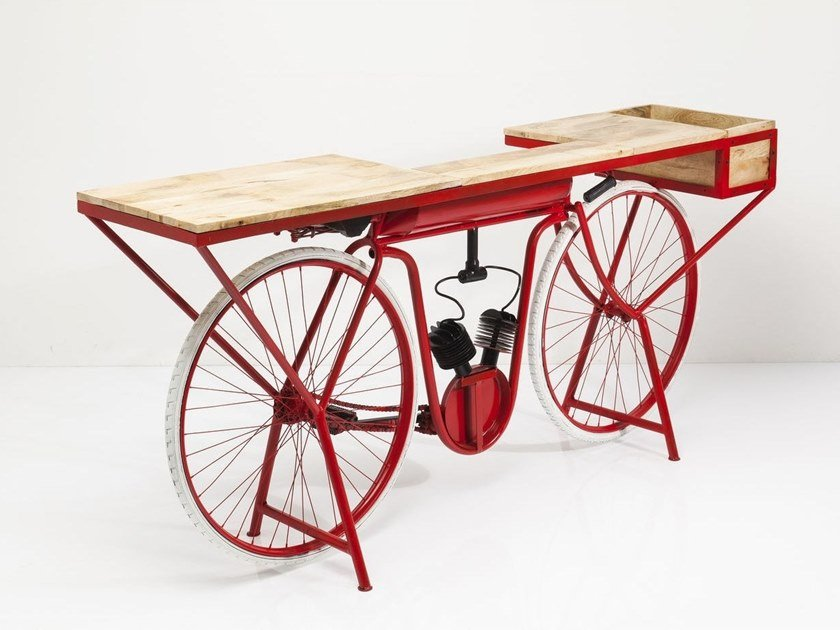Steel and wood console table BIKE | Console table by KARE-DESIGN