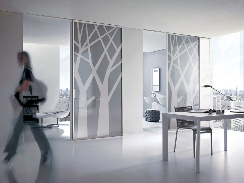 Glass and aluminium sliding door BIKONCEPT PLANA by Bertolotto Porte