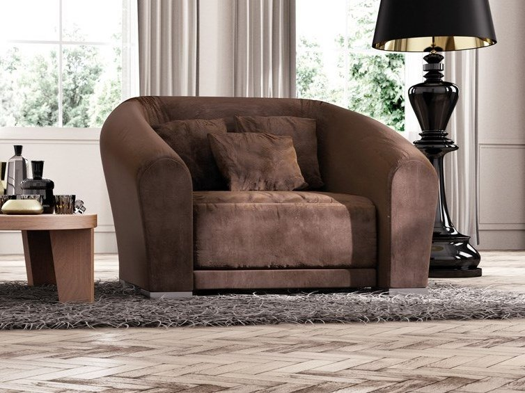 Fabric armchair with armrests BILBAO | Armchair by Scandal