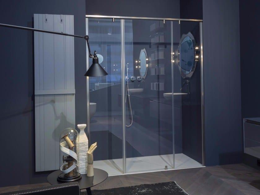 Modular crystal shower cabin with pivot door BILICO by Antonio Lupi Design