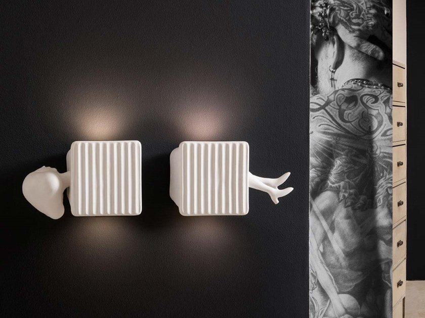 LED direct-indirect light ceramic wall light BINARELL by Karman