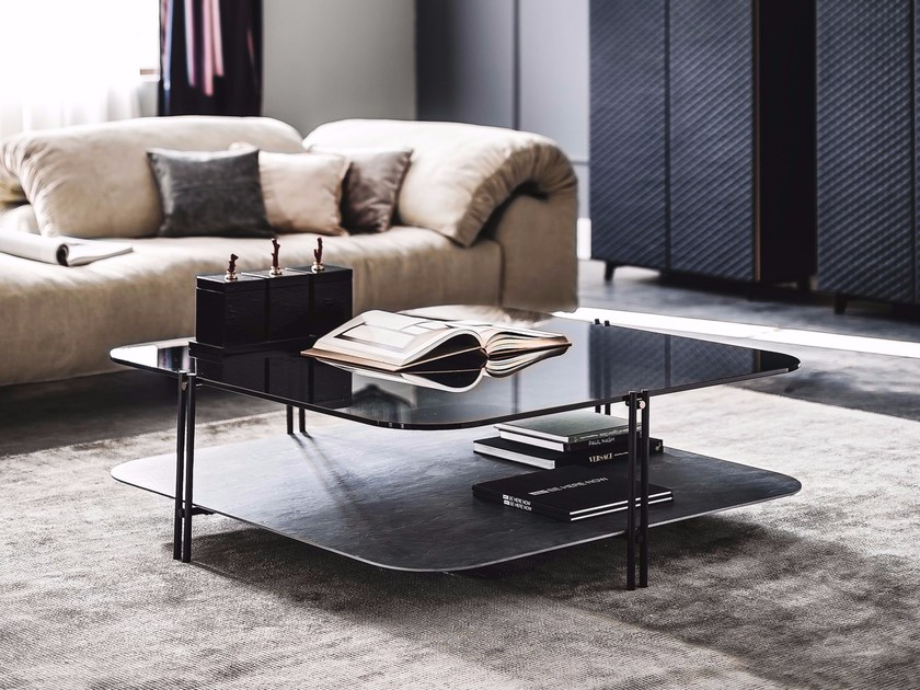 Ceramic and crystal coffee table BIPLANE by Cattelan Italia