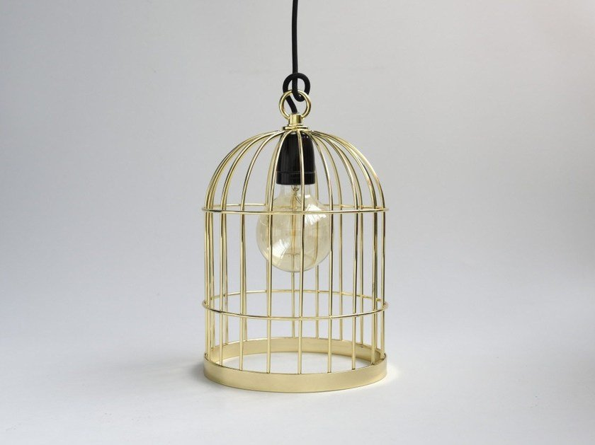Metal pendant lamp / table lamp BIRD CAGE GOLD CABLE BLACK by FILAMENTSTYLE