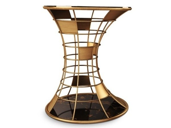 Round brass and marble side table BIRD HOUSE by Porustudio