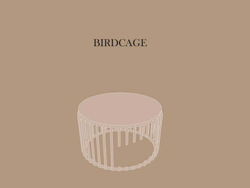 Low metal stool BIRDCAGE by KYOHEI & MIRANDA