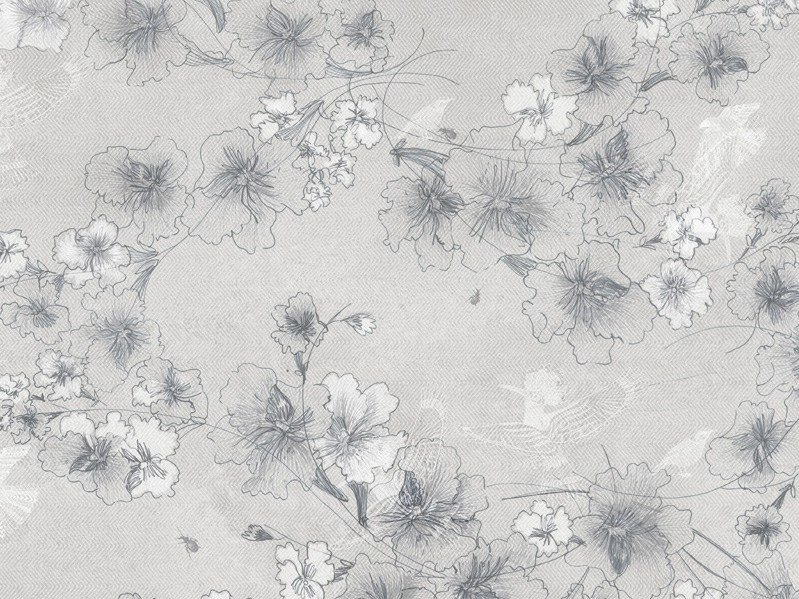 Wallpaper with floral pattern BIRDFLOWER by Tecnografica Italian Wallcoverings