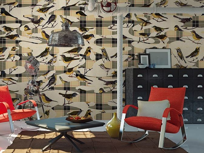 Motif washable vinyl wallpaper BIRDS by GLAMORA