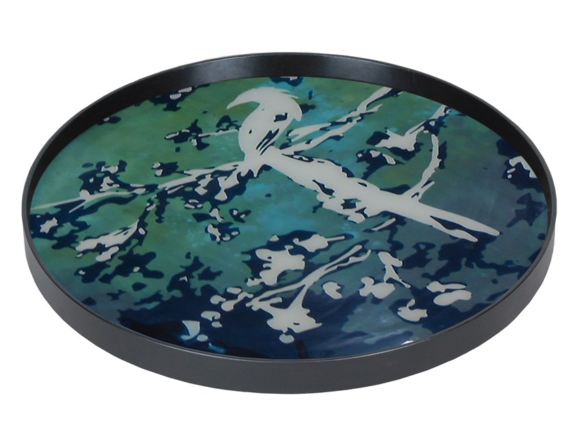 Round wood and glass tray BIRDS OF PARADISE by Notre Monde