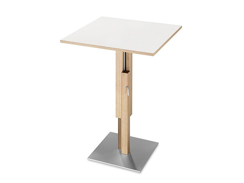 Square or round solid wood table BISTRO by SCULPTURES JEUX