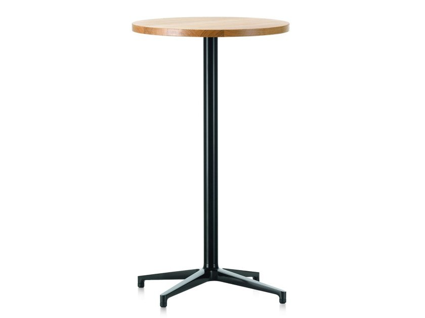 Round high table with steel base and wooden top BISTRO STAND-UP TABLE by Vitra