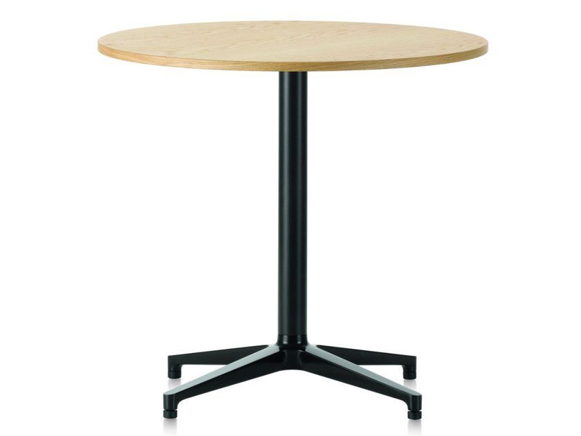 Round table with steel base and wooden top BISTRO TABLE | Round table by Vitra