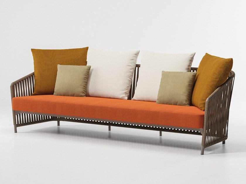 3 seater upholstered fabric garden sofa BITTA LOUNGE | 3 seater garden sofa by KETTAL