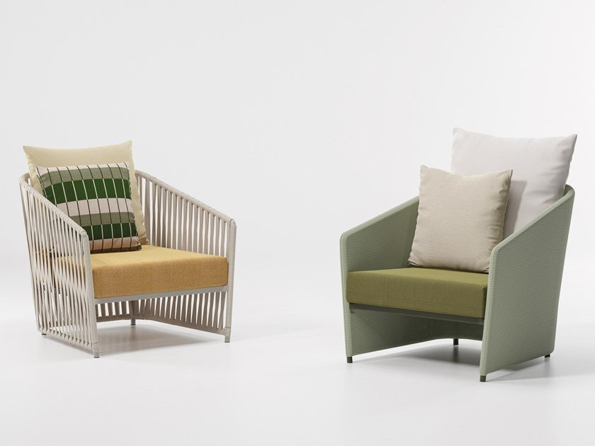Upholstered fabric garden armchair with armrests BITTA LOUNGE | Garden armchair by KETTAL