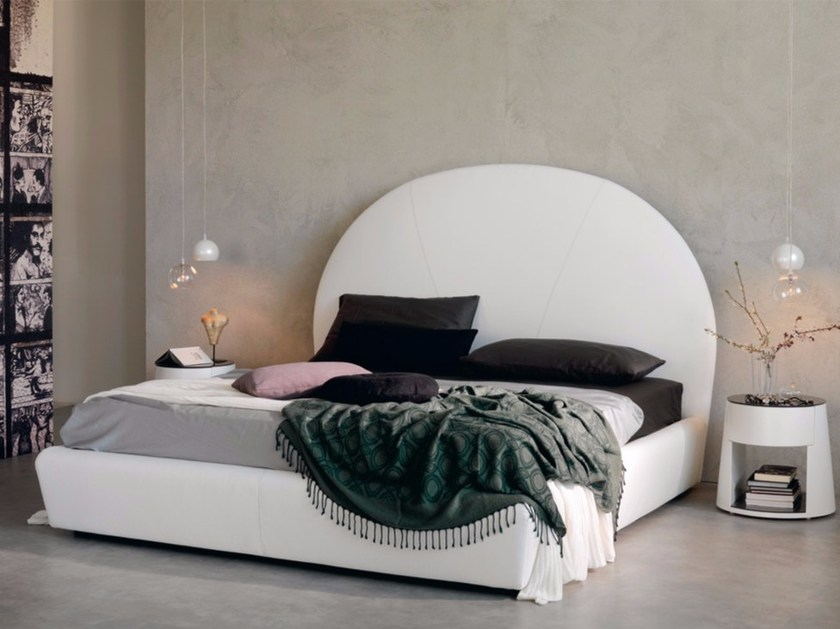 Leather double bed with upholstered headboard BJORN by Cattelan Italia