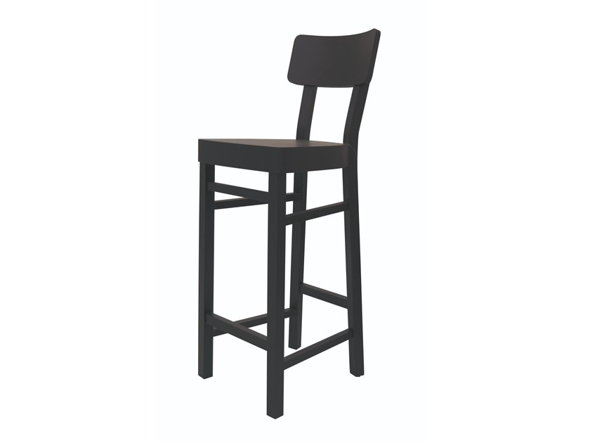 Beech stool with back BLACK 128 by Gervasoni