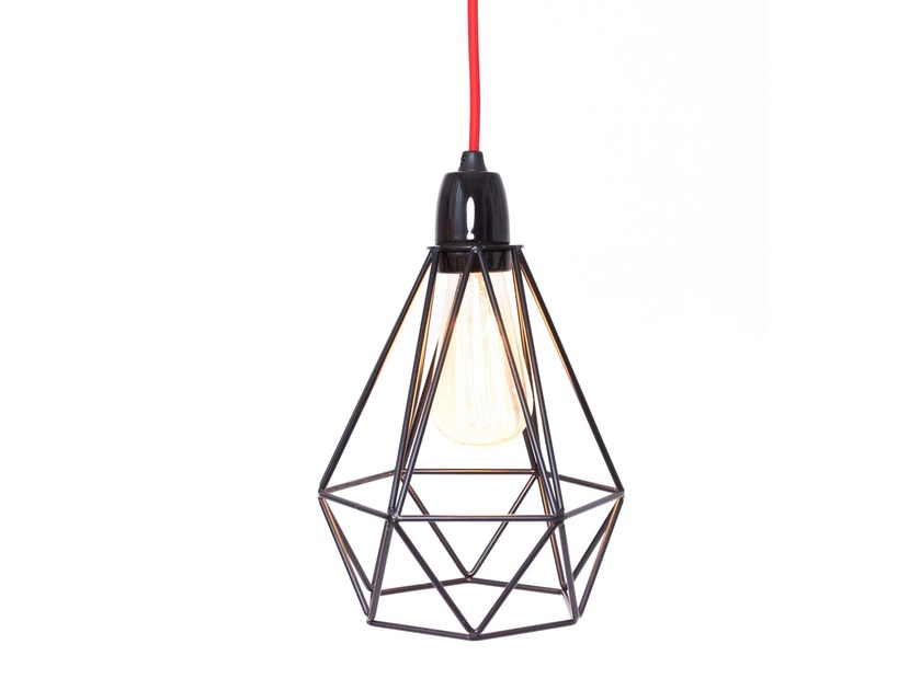 Metal pendant lamp / table lamp BLACK CAGE RED FABRIC WIRE by FILAMENTSTYLE