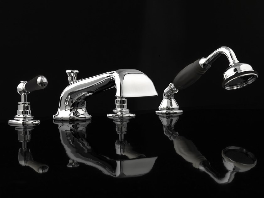 4 hole bathtub set with hand shower BLACK DANDY   4 hole bathtub set by Devon&Devon