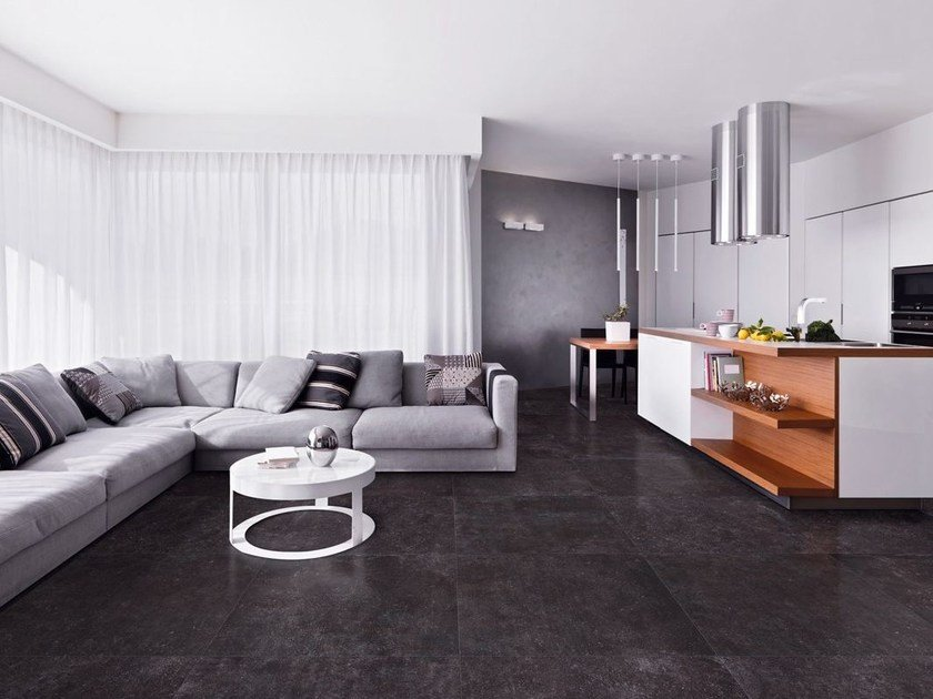 Full-body porcelain stoneware flooring with concrete effect BLUE EVOLUTION BLACK by La Fabbrica