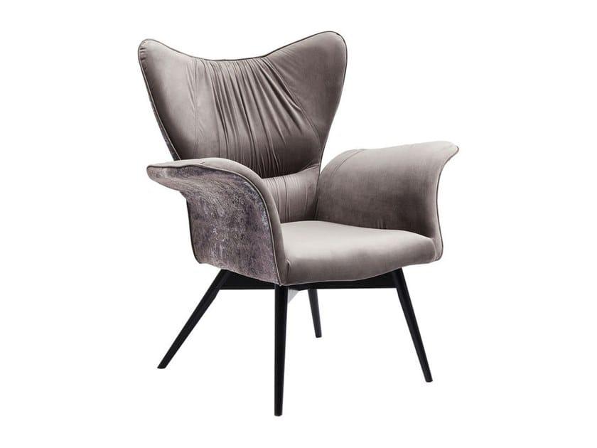 Armchair with armrests BLACK WALL STREET VELVET ORNAMENT by KARE-DESIGN