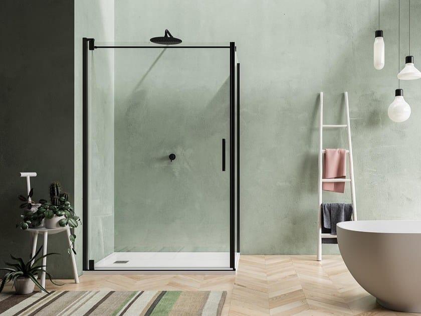Box doccia angolare con porta pivotante BLACKBERRY QW+QL by Karol