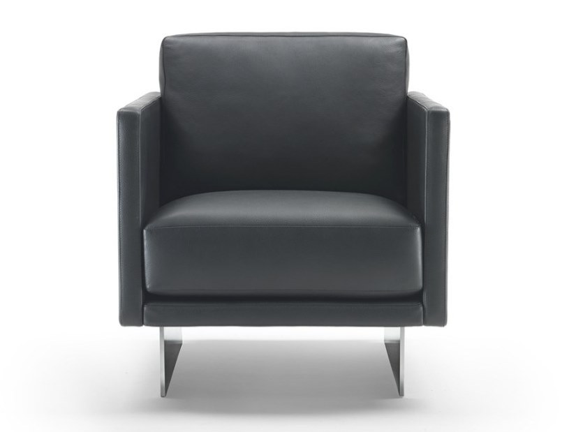 Leather armchair with armrests BLADE   Armchair by Marelli