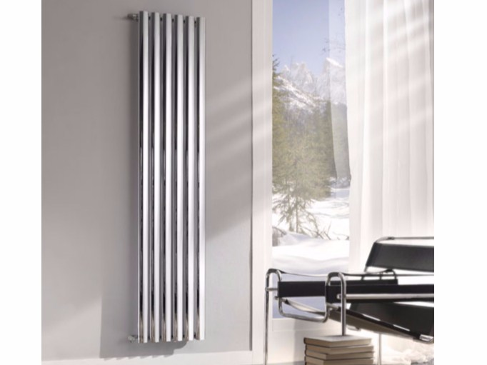 Chrome vertical wall-mounted decorative radiator BLADE by Hotwave