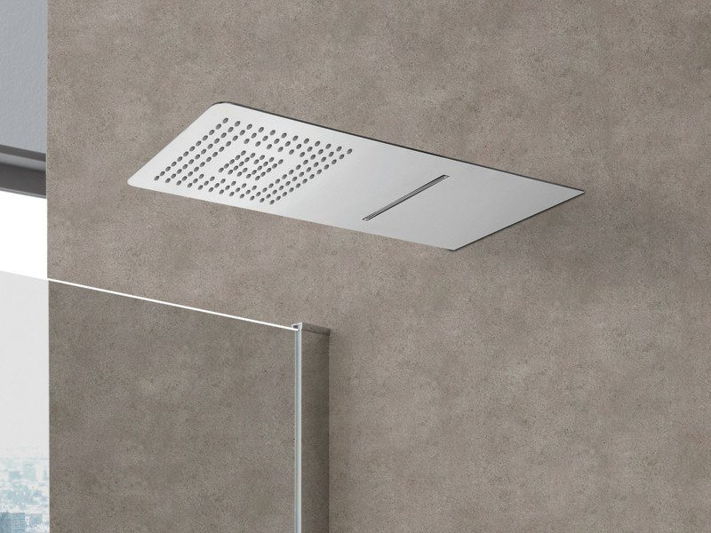 Wall-mounted stainless steel overhead shower BLADE | Rectangular overhead shower by WEISS-STERN