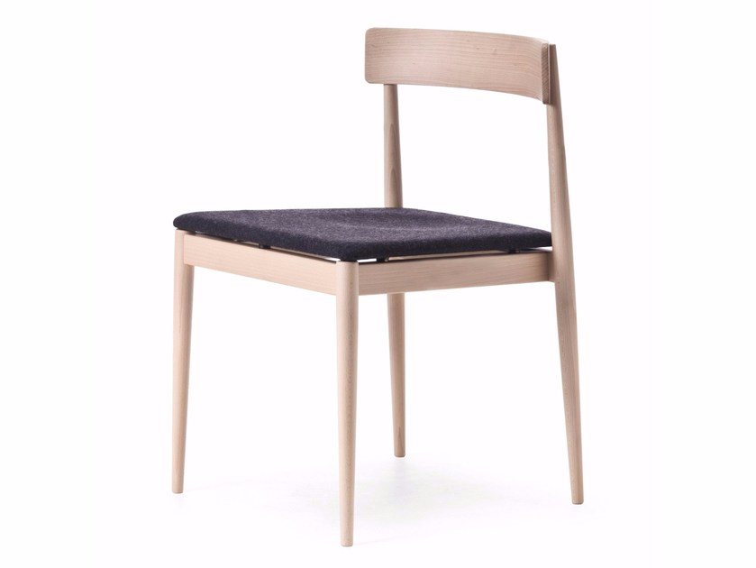 Beech chair with integrated cushion BLANC 01 by Very Wood