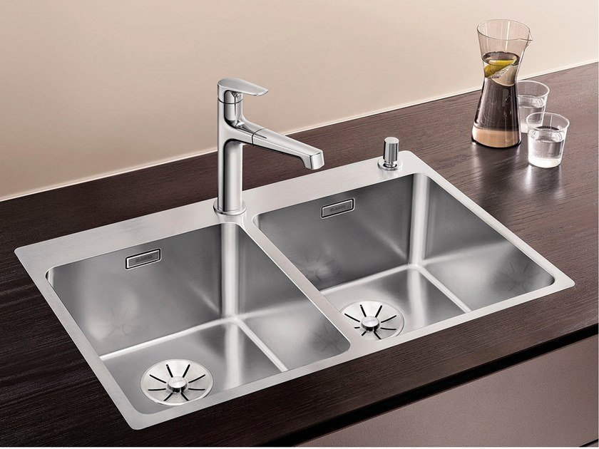 Lavello a 2 vasche in acciaio inox BLANCO ANDANO 340/340-IF/A By Blanco