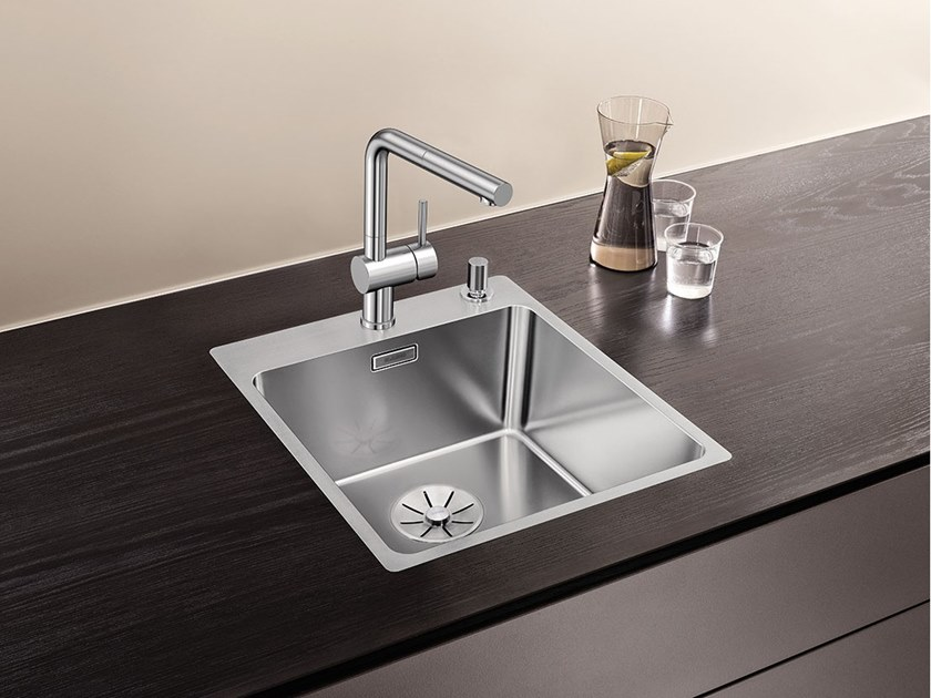 Single Countertop Flush Mounted Stainless Steel Sink Blanco