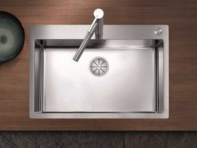 Single flush-mounted stainless steel sink BLANCO CLARON ...