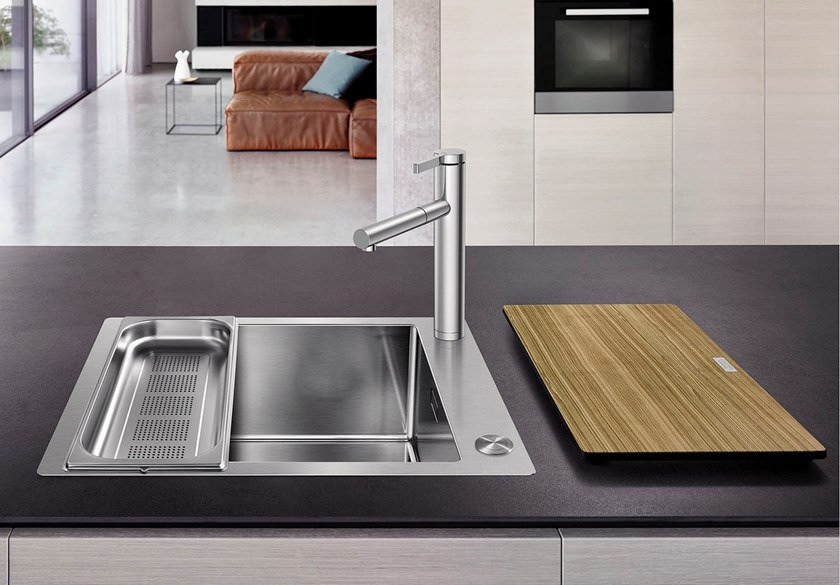 Contemporary style single built-in flush-mounted stainless steel sink BLANCO CLARON XL 60-IF/A by Blanco