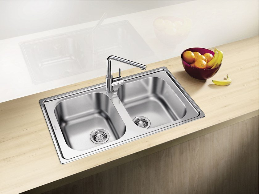 2 bowl built-in stainless steel sink BLANCO DINAS 8 by Blanco