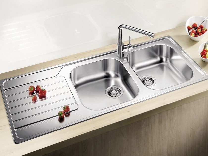 2 bowl built-in stainless steel sink with drainer BLANCO DINAS 8 S by Blanco