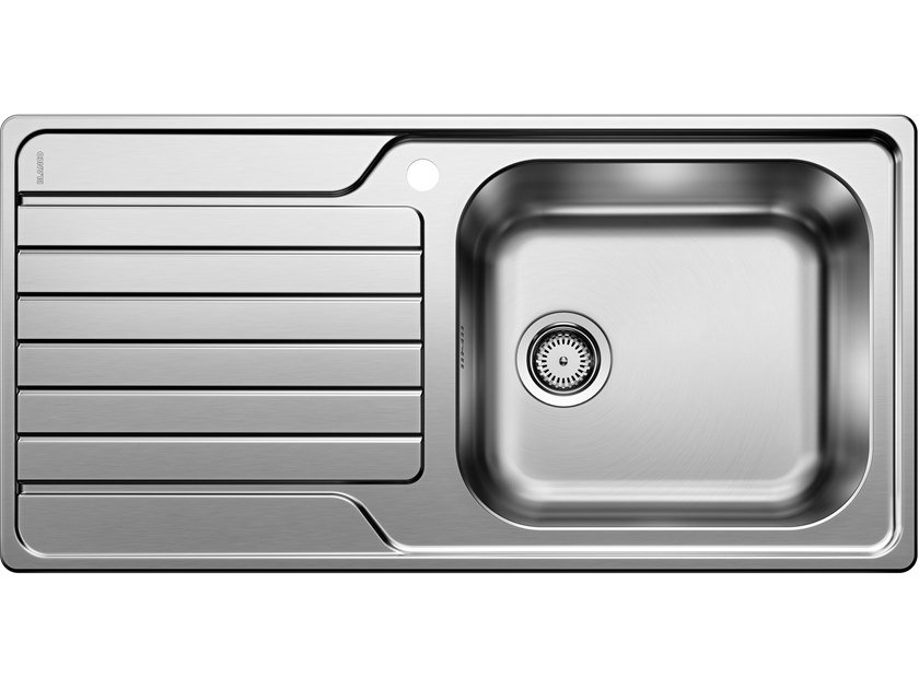 Contemporary style single built-in stainless steel sink with drainer BLANCO DINAS XL 6 S by Blanco