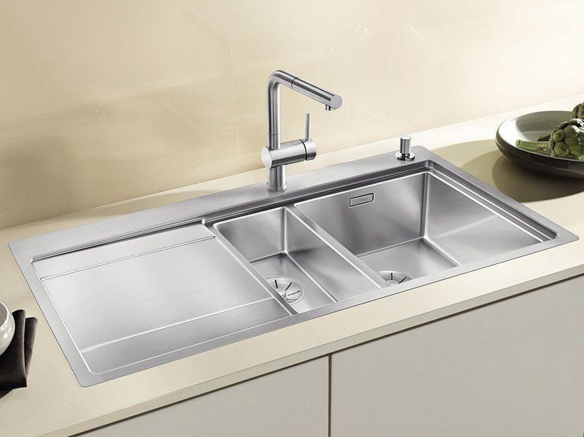 1 1/2 bowl built-in stainless steel sink with drainer BLANCO DIVON II 6 S-IF by Blanco