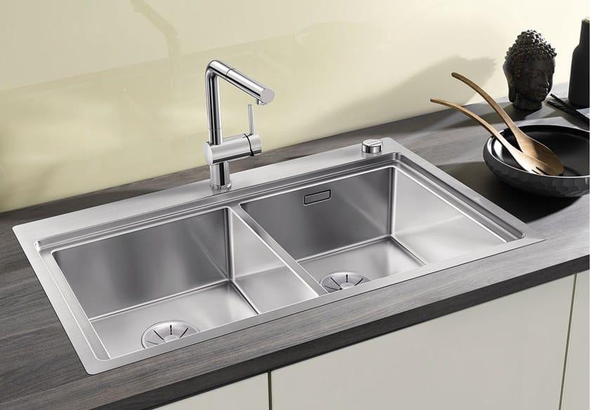Lavello a 2 vasche da incasso in acciaio inox BLANCO DIVON ...