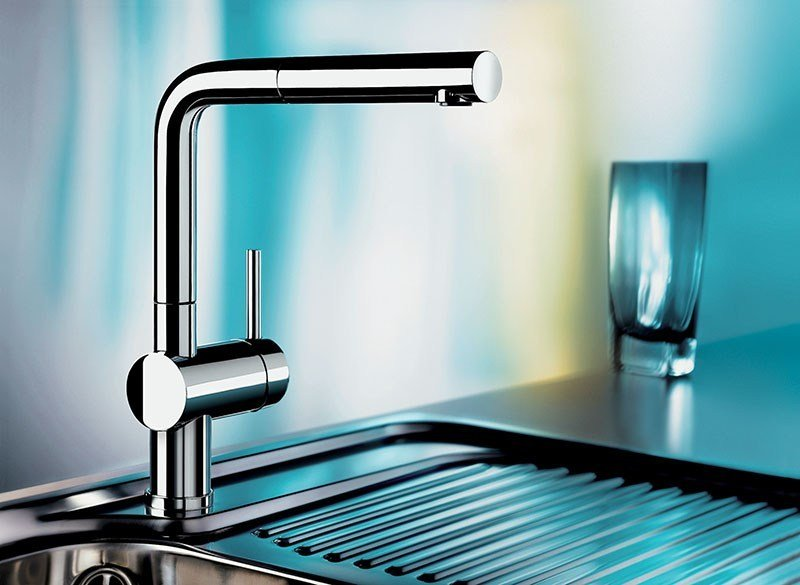 Blanco Linus S plated kitchen mixer tap with spray with pull out spray blanco linus
