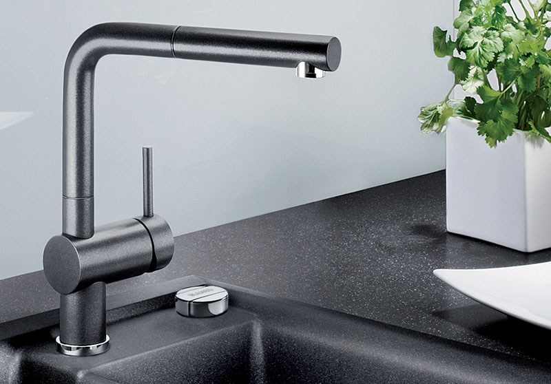 Countertop kitchen mixer tap with spray with pull out spray BLANCO LINUS-S versione Silgranit by Blanco