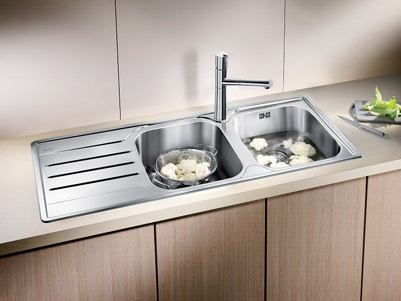 2 bowl built-in stainless steel sink with drainer BLANCO MEDIAN 8 S by Blanco