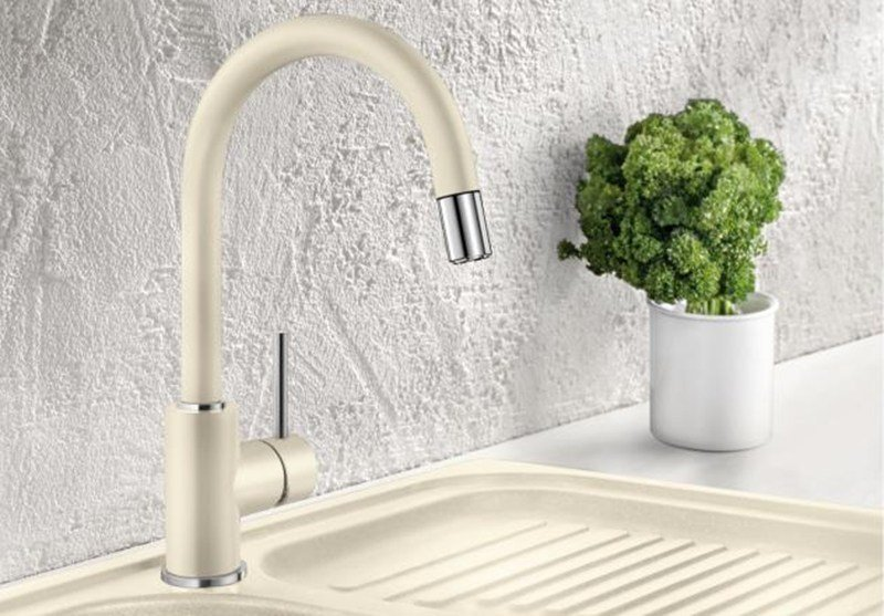 Kitchen mixer tap with spray with pull out spray BLANCO MIDA-S versione SILGRANIT by Blanco