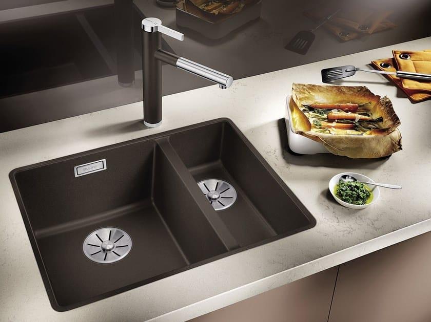 1 1/2 Bowl Flush Mounted Silgranit® Sink BLANCO SUBLINE 340/160 F By Blanco