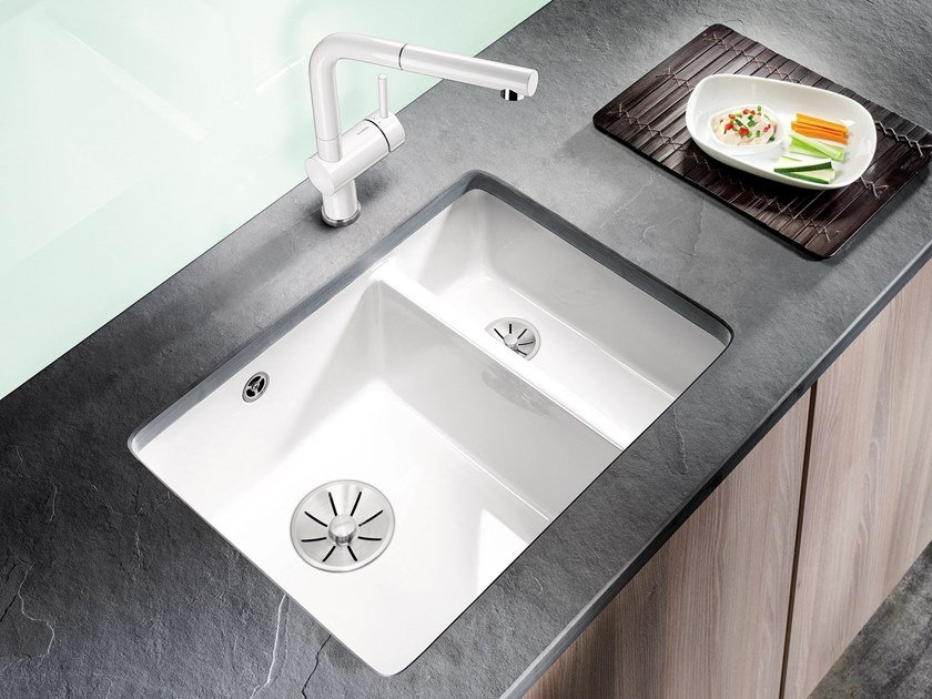 1 1/2 bowl undermount ceramic sink BLANCO SUBLINE 350/150 U | Ceramic sink by Blanco