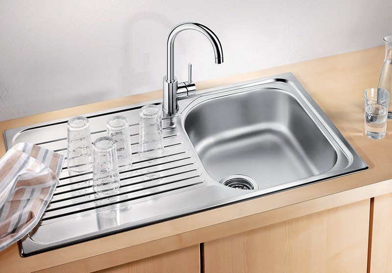 Single built-in stainless steel sink with drainer BLANCO TIPO 45 S by Blanco
