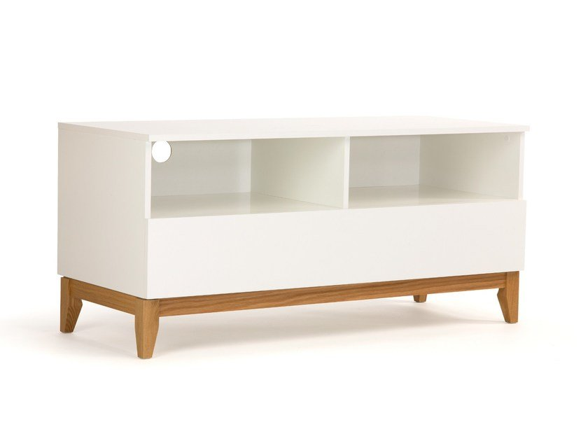 Lacquered wooden TV cabinet BLANCO | TV cabinet by Woodman