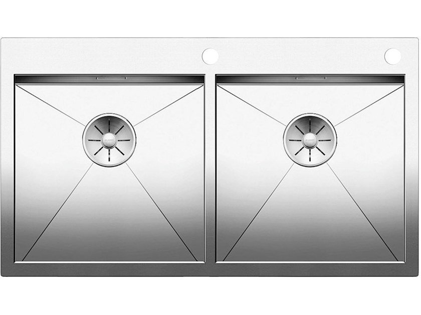 2 bowl flush-mounted stainless steel sink BLANCO ZEROX 400/400 IF/A by Blanco