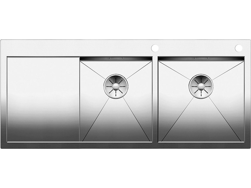 2 bowl flush-mounted stainless steel sink with drainer BLANCO ZEROX 8 S-IF by Blanco